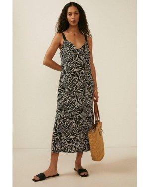 Womens Textured Jersey Zebra Animal Midi Dress