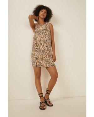 Womens  Print Woven Sleeveless A Line Dress
