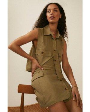 Womens Tailored Button Linen Mix Mini Skirt
