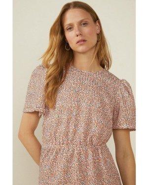 Womens Floral Textured Tiered Mini Dress