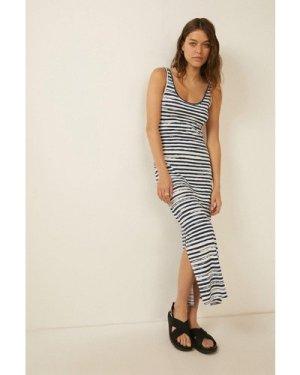 Womens Paintbrush Stripe Scoop Neck Maxi Dress