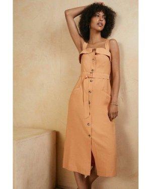 Womens Button Through Linen Look Belted Dress