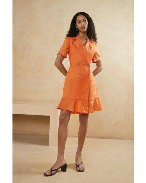 Womens Frill Linen Look Tailored Dress