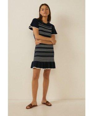 Womens Stripe Knit Flippy Dress