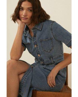 Womens Short Sleeved 4 Pocket Denim Dress