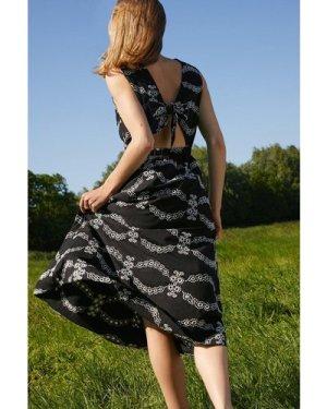Womens Mono Broderie Tie Back Midi Dress