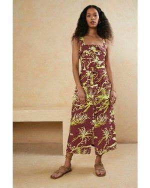 Womens Linen Look Printed Button Through Belted Dress