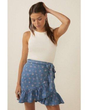 Womens Ditsy Print Wrap Mini Skirt
