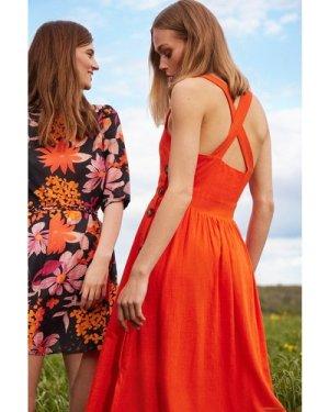 Womens Button Side Pinny Dress