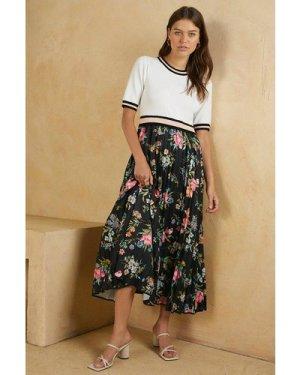 Womens Knit 2 In 1 Woven Skirt Print Dress