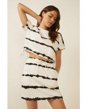 Womens Tie Dye Tie Waist Loopback Mini Skirt