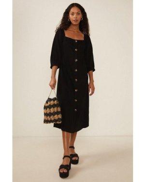 Womens Petite Button Front Linen Dress