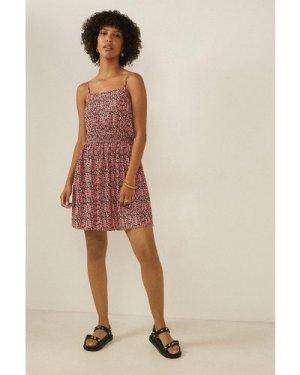 Womens Ditsy Crinkle Shirred Waist Mini Dress