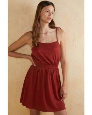 Womens Crinkle Shirred Waist Mini Dress