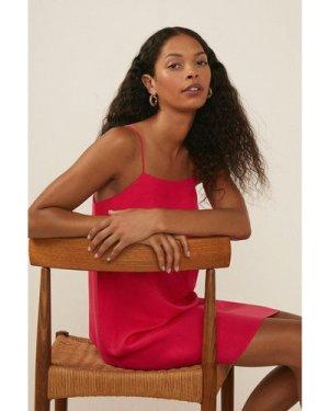 Womens Petite Linen Mini Slip Dress