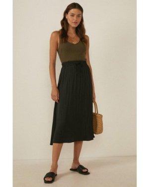 Womens Tie Waisted Satin Midi Skirt