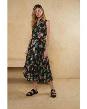 Womens Sleeveless Floral Belted Shirt Dress