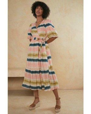 Womens Tie Dye Wrap Midi Dress
