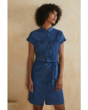 Womens Tie Belt Shirt Dress