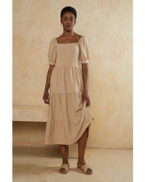 Womens Puff Sleeve Textured Tiered Midi Dress