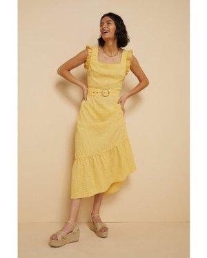 Womens  Gingham Ruffle Sleeve Midi Dress