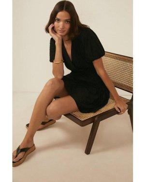 Womens Broderie Wrap Tiered Mini Dress