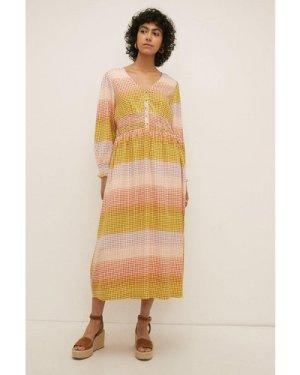 Womens Shirred Button Down Maxi Dress