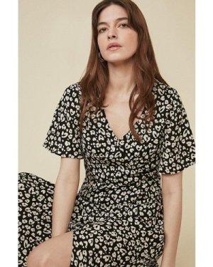 Womens Animal Flute Sleeve Midi Dress
