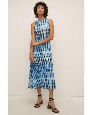 Womens Printed Tie Dye Mesh Racer Midi Dress