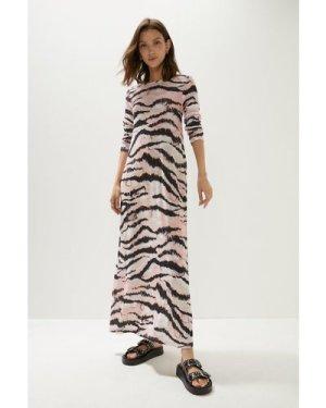 Womens Animal Mesh Scoop Back Trapeze Midaxi Dress