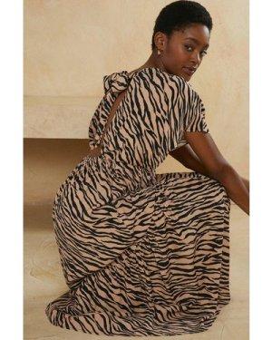 Womens  Zebra Print Tie Back Midi Smock Dress