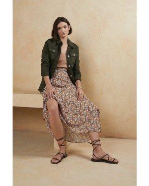 Womens Floral Printed Midi Skirt