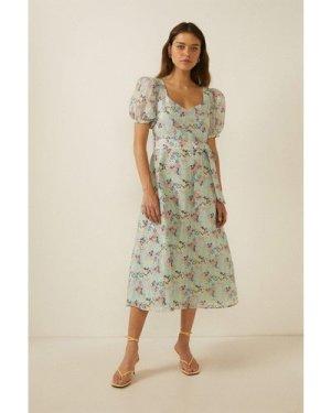 Womens Floral Stripe Organza Square Neck Midi Dress