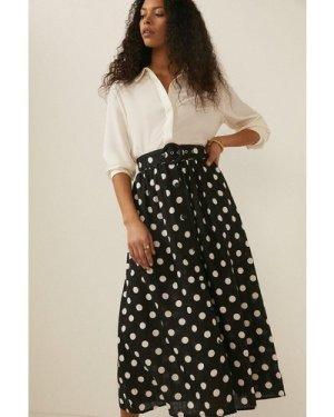 Womens Spot Belted Midi Skirt