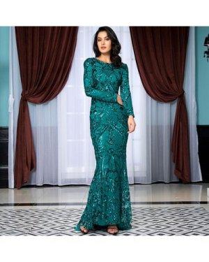 V Neck Back Sequin Floor Length Dress