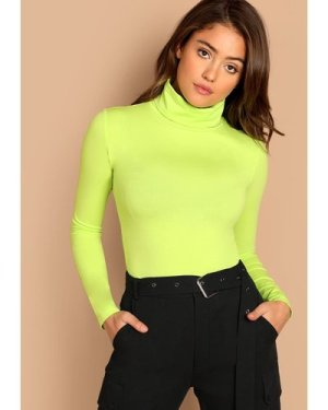 Neon Lime Turtleneck Slim Fitted T-shirt