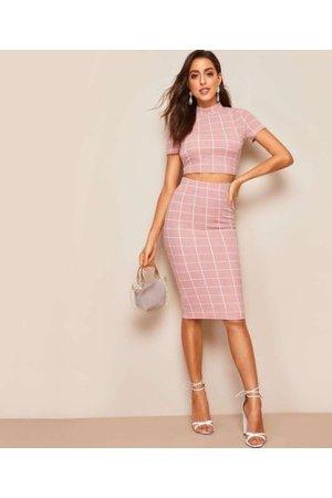 Grid Print Mock-neck Crop Top & Bodycon Skirt Set