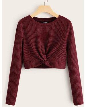 Twist Hem Rib-knit Tee