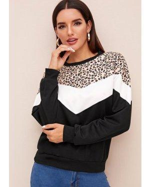 Leopard Contrast Colorblock Sweatshirt