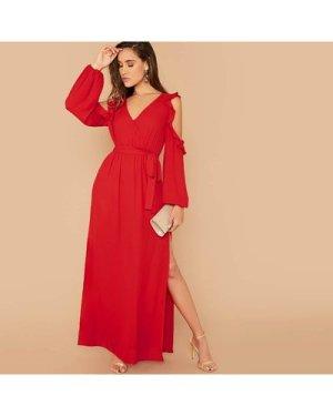 Cut Out Sleeve Ruffle Trim Split Thigh Dress
