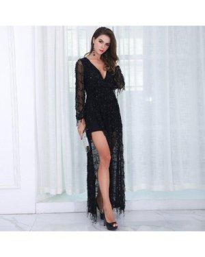 Split Thigh Plunge Neck Sequin Mesh Dress
