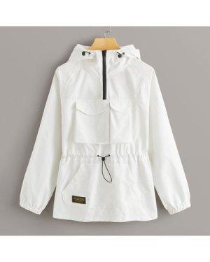 Zip Half Pocket Front Drawstring Windbreaker Jacket