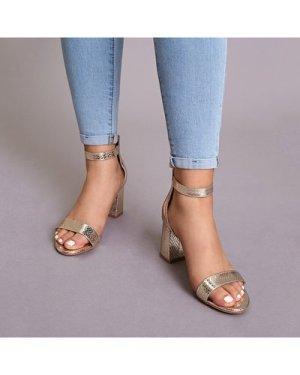 Snakeskin Ankle Strap Chunky Heels