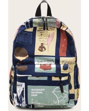Random Graphic Pocket Front Backpack