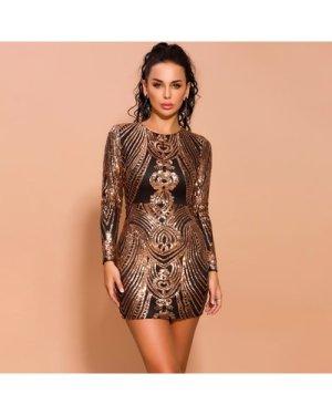 Zip Detail Sequin Bodycon Dress