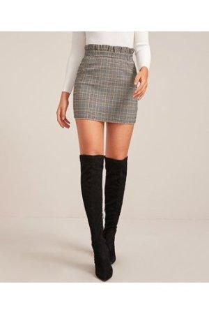 Paperbag Waist Plaid Mini Bodycon Skirt