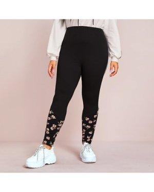 Plus Floral Print Contrast Binding Side Leggings