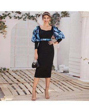 Floral Gigot Sleeve & Waist Pencil Dress