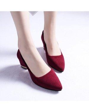 Point Toe Court Chunky Heels