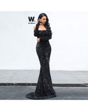 Off Shoulder Sequin Fishtail Prom Dress